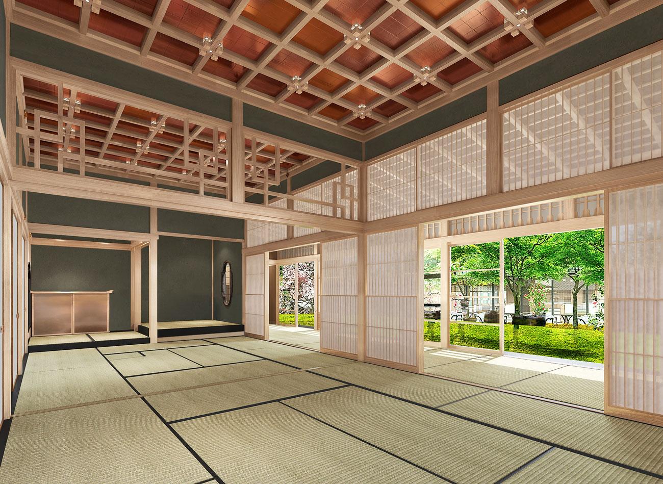 三井総領家の邸宅の一部を総檜造りで再現した「四季の間」イメージ